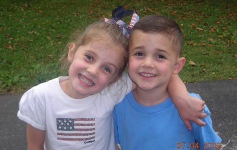 The O'Leary twins, five years old, enjoying the Fourth of July.