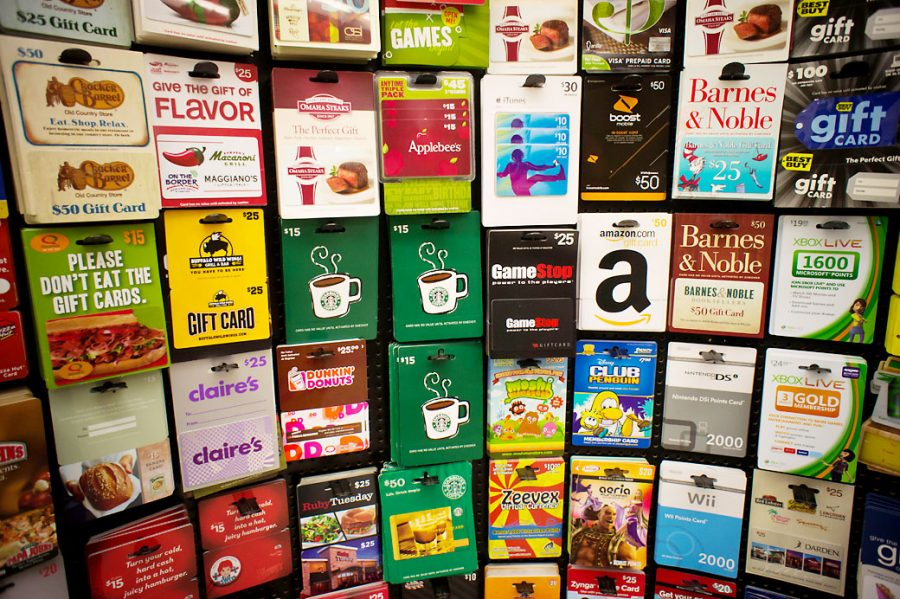 C8Y71F A selection of gift cards in a store in New York on Wednesday, November 2, 2011. (© Richard B. Levine)