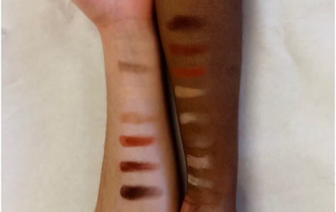 makeup swatches of the sweet peach palette