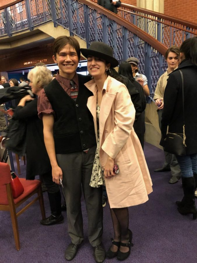 Giles with his girlfriend, senior Cosette Jenkins, after his final performance as Morris Delancey in Disneys Newsies at the Hylton Performing Arts Center.