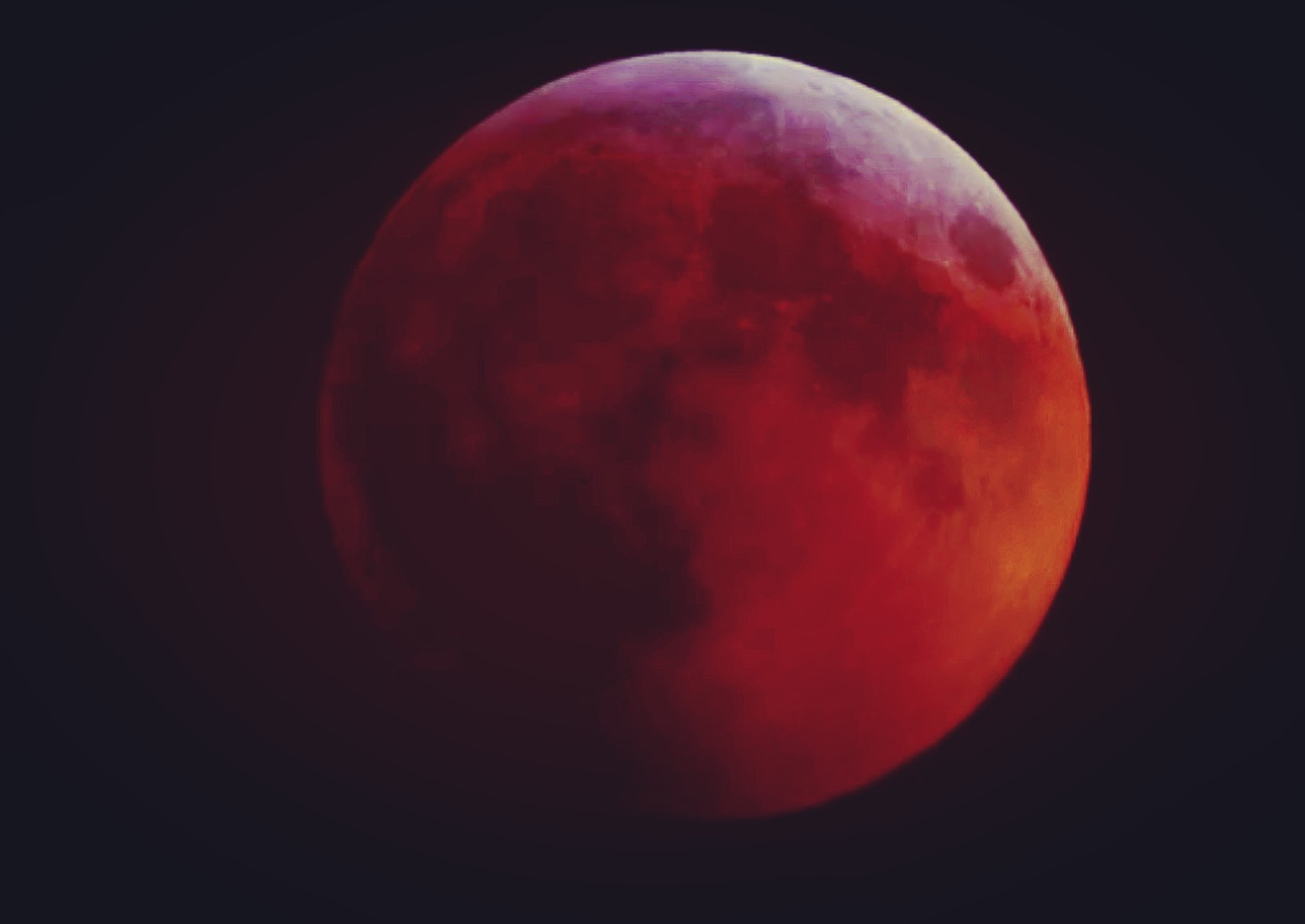 The Blood Moon at almost full redness.