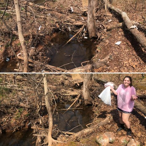 A before and after picture of the area Nicole Ardovino did the #Trashtag Challenge in.