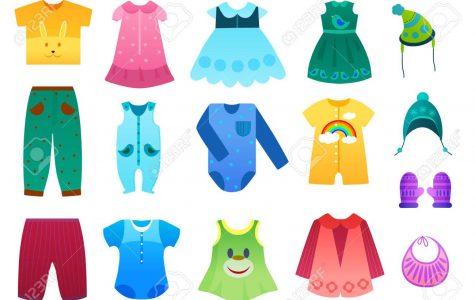 Vector illustration of baby and children kids clothes collection. Cartoon vector illustration
