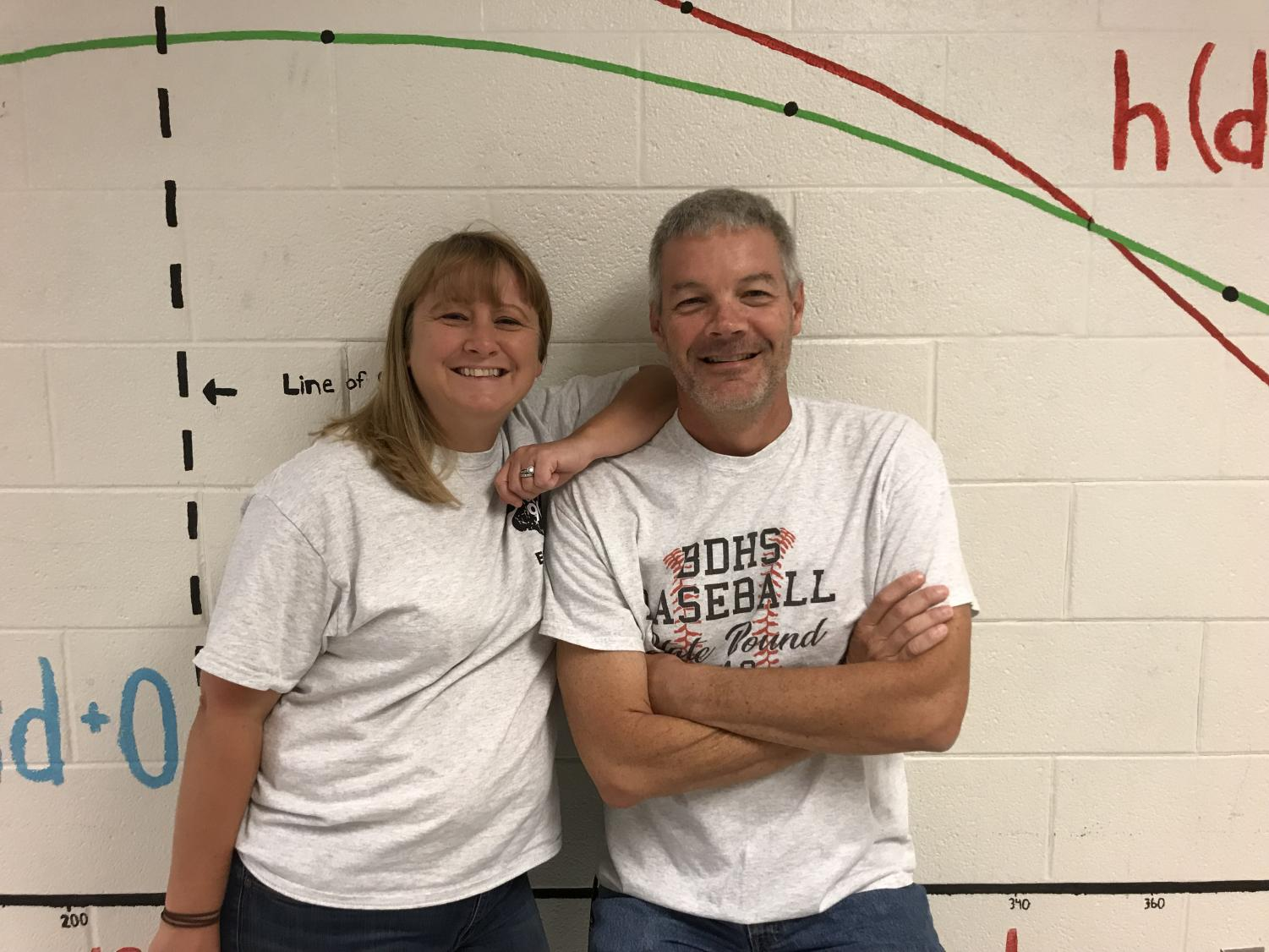 Ms. Forst and Mr. Knight pose in the math hallway.