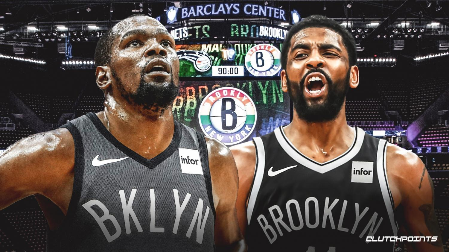 Kevin Durant (left) and Kyrie Irving (right) both ready to take on the new season with the Brooklyn Nets.