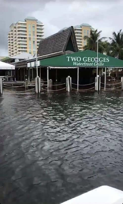 A+local+Boca+Raton+restaurant+was+badly+flooded+as+a+result+of+Dorian.