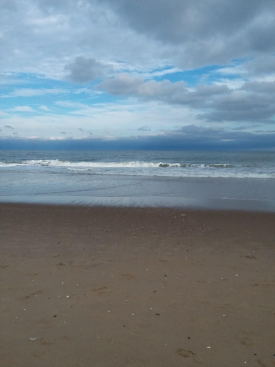 A cloudy beach scene.