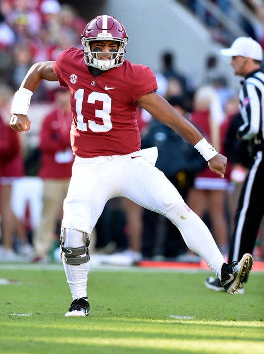Tua+Tagovailoa+%2813%29+celebrates+his+third+touchdown+of+the+game.