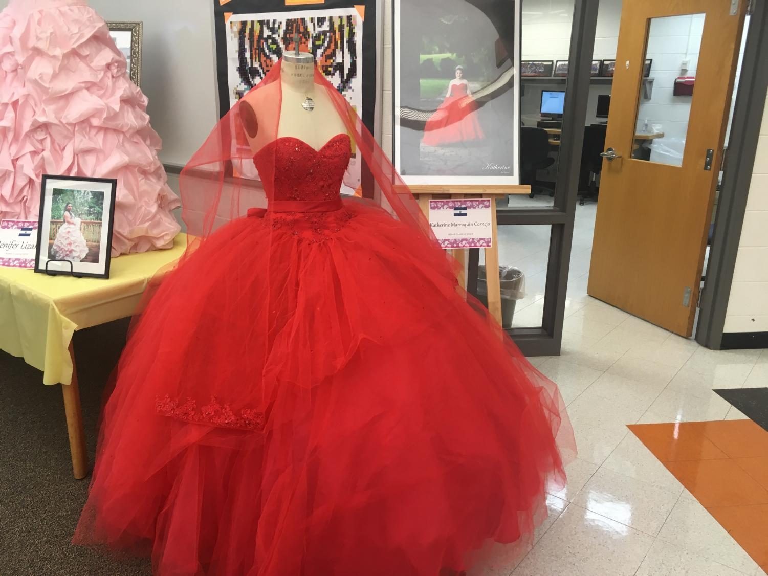 Katherine Marroquin's Quinceanera dress, in the library on display