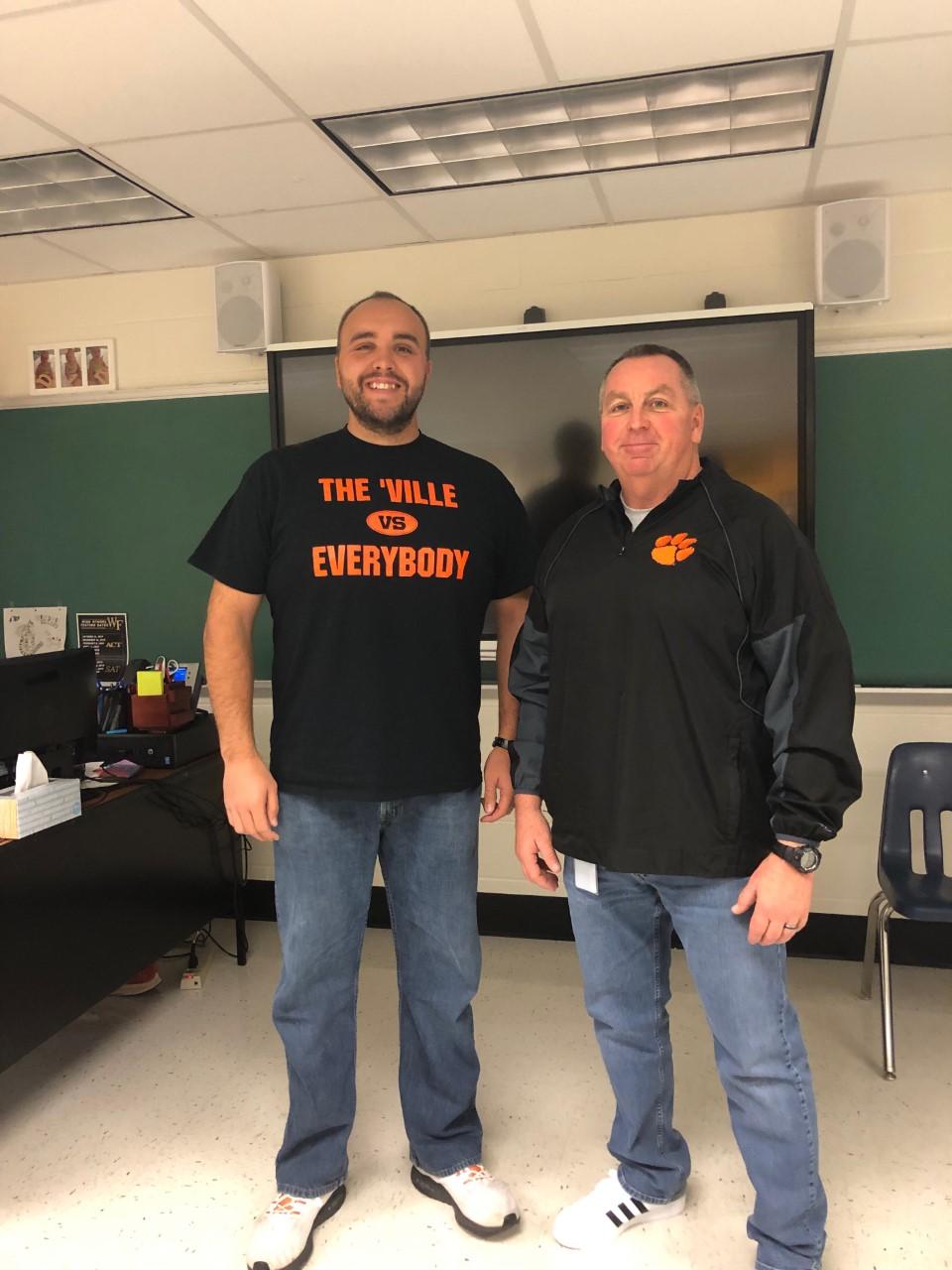 Mr. Joe Mullinax (left) and Mr. Rodney Manuel (right) co-teach classes at BDHS.