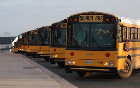 PWCS school busses line up to take students home after the school day.