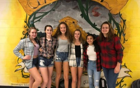 Students dressed up in flannel during the 2019 homecoming spirit week.