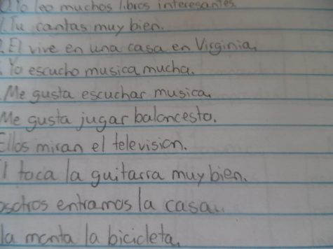 Schoolwork that is written in Spanish