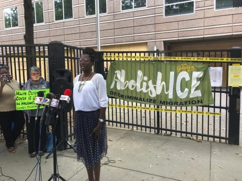 Dawn Wooten, former nurse at Irwin County Detention Center, speaking at the protest in Atlanta, Georgia on the conditions in the immigration jail, Sept. 15, 2020.