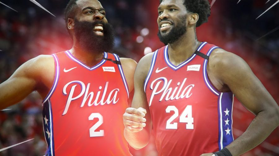 James Harden (left) next to soon to be teammate Embiid