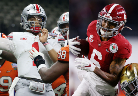 Justin Fields (left) and DeVonta Smith (right) look to lead their teams on the field